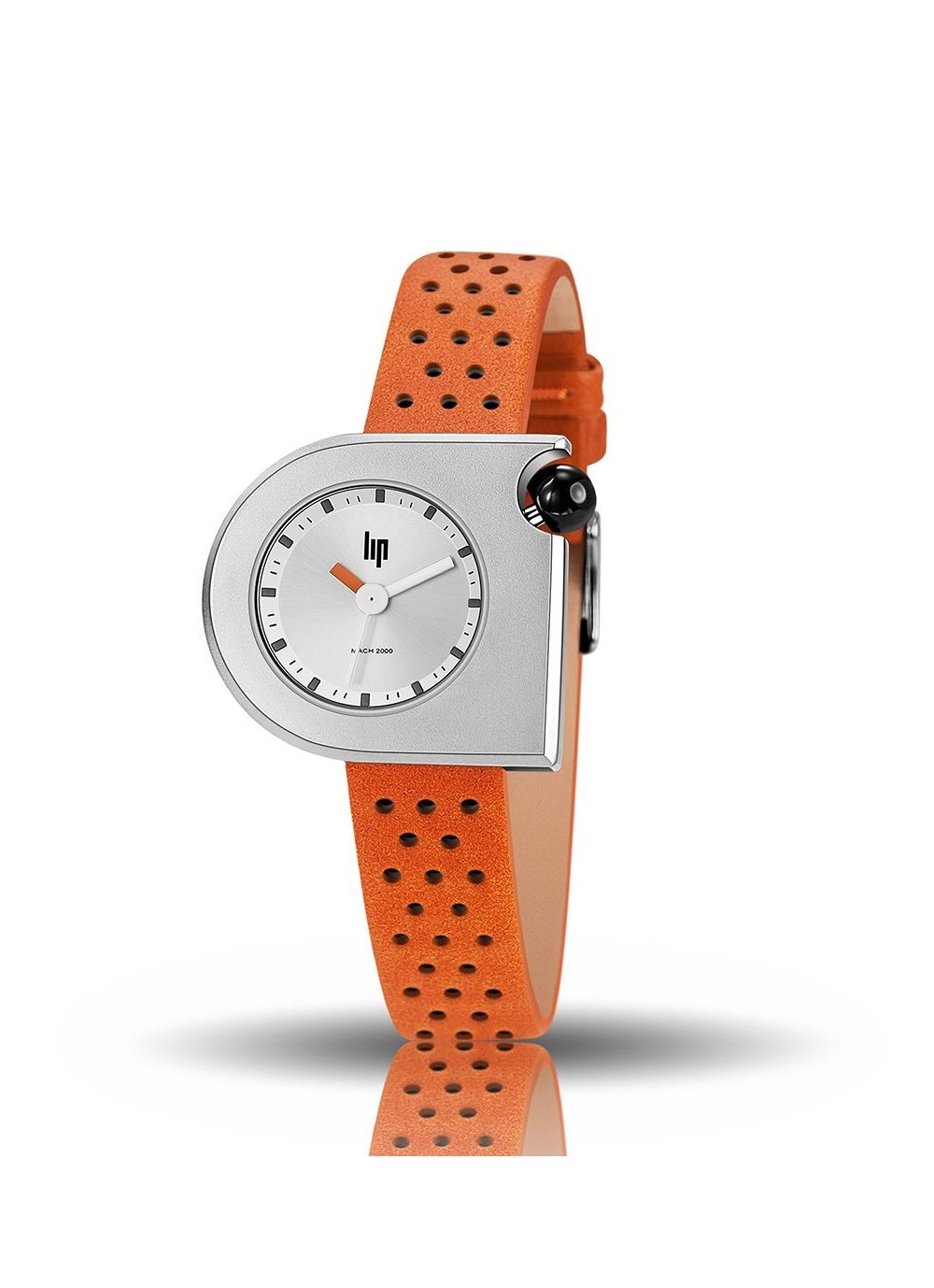 Mach 2000 mini bracelet cuir orange perforé, cadran gris