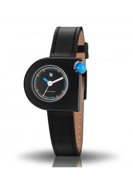 Mach 2000 mini bracelet cuir noir cadran noir et couronne bleue