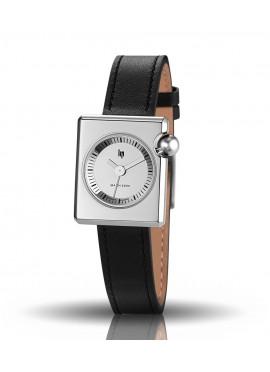 Mach 2000 mini bracelet cuir noir cadran chromé