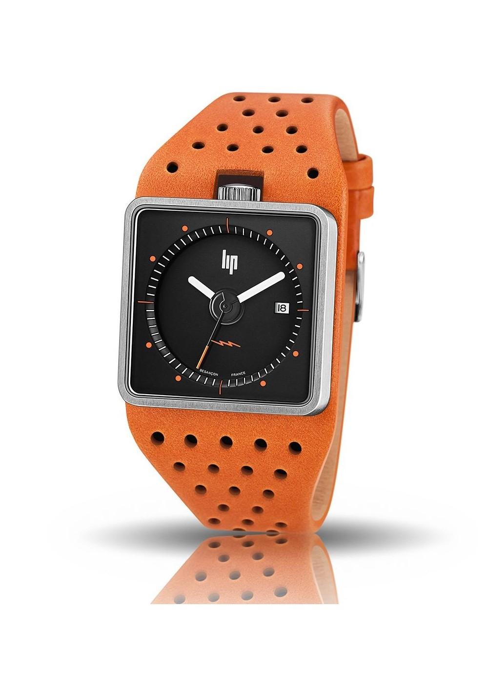 Big TV bracelet orange cadran noir