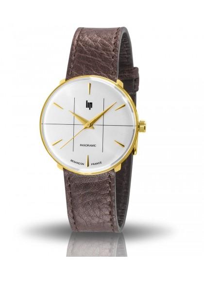 montre Lip panoramic boitier rond acier doré bracelet cuir marron